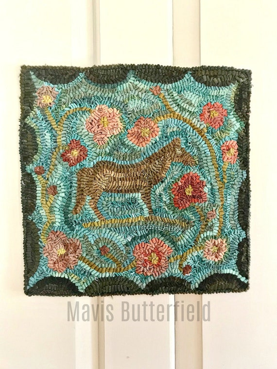 Primitive Folk Art Hooked Rug Horse ~ Annabell's Big Day