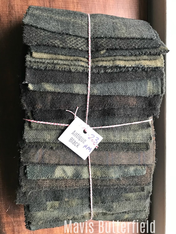 Hand Dyed Wool Fabric, 23 Antique Black Fat 1/16 Sixteenth for Primitive Rug Hooking
