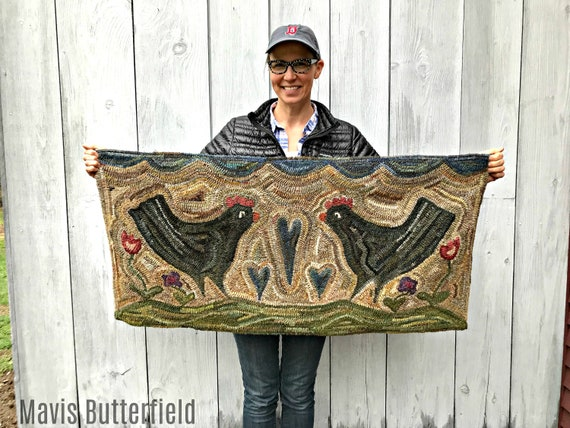Large Farmhouse Style Primitive Chicken Folk Art Wool Hooked Rug - Miss Henny and Miss Penny ~
