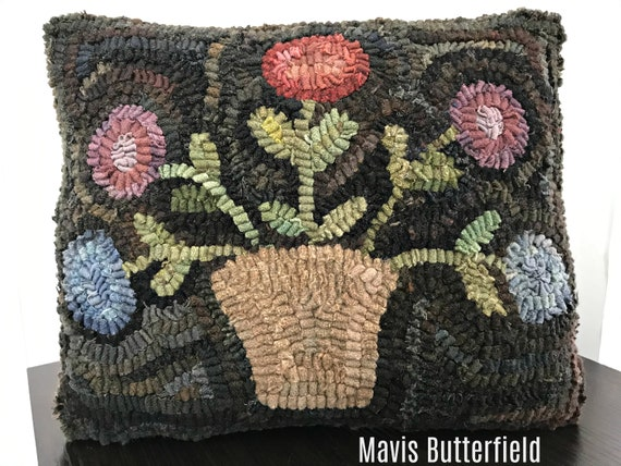 American Folk Art Wool Hooked Rug Pillow -  Flower Basket Pillow