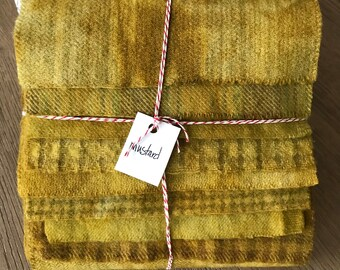 Hand Dyed Wool Fabric, 8 Mustard Fat 1/16 Sixteenth for Primitive Rug Hooking