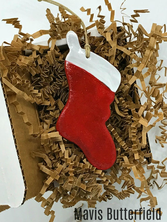 Rustic Red Stocking Redware Pottery Ornament