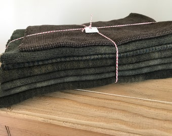 Hand Dyed Wool Fabric, 7 Brown Black Fat 1/4th Quarter Yards for Primitive Rug Hooking { 1 3/4 Yards Total}