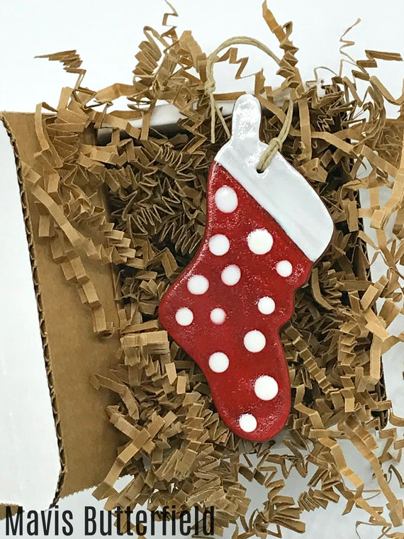Rustic Polka Dot Red Stocking Redware Pottery Ornament