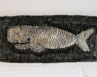 Primitive Wool Hooked Whale Rug New England Nantucket Folk Art