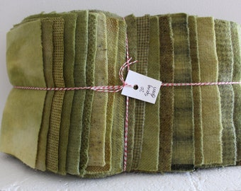 Hand Dyed Wool Fabric, 20 Spring Green Fat 1/16 Sixteenth for Primitive Rug Hooking