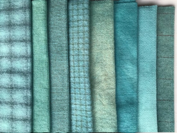 Hand Dyed Wool Fabric, 8 Robin's Egg Blue Fat 1/4 {Quarter} Yards {2 yards Total} for Primitive Rug Hooking