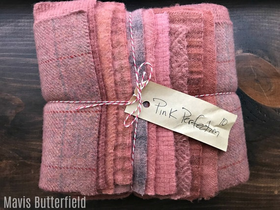 Hand Dyed Wool Fabric, 10 Pink Perfection Fat 1/16 Sixteenth for Primitive Rug Hooking