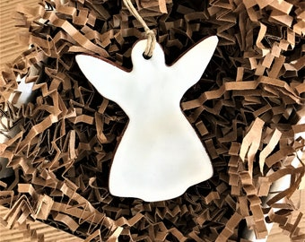 Simple White Angel Redware Pottery Ornament