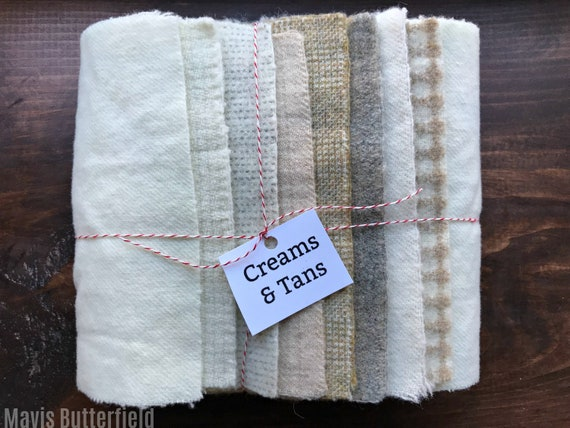 Hand Dyed Wool Fabric, 8 Creams and Tans Fat 1/16 Sixteenth for Primitive Rug Hooking
