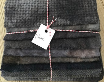 Hand Dyed Wool Fabric, 8 Plum Perfection Fat 1/16 Sixteenth for Primitive Rug Hooking