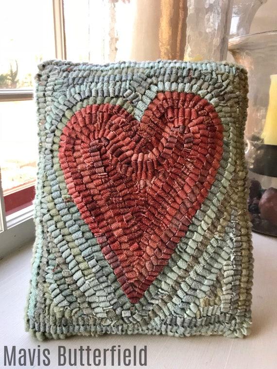 Folk Art Primitive Wool Hooked Rug Pillow ~ Primitive Red Heart ~