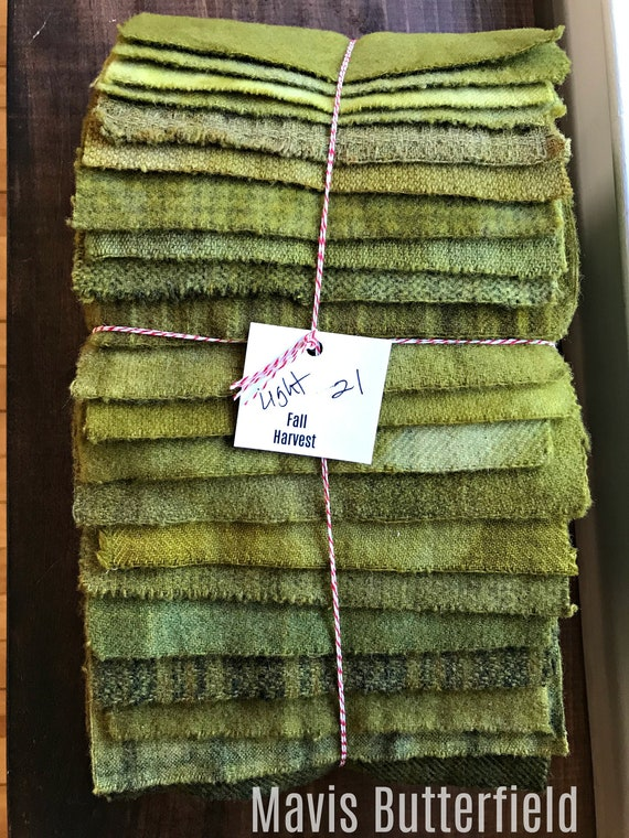 Hand Dyed Wool Fabric, 21 Fall Harvest {Light} Fat 1/16 Sixteenth Bundle for Primitive Rug Hooking