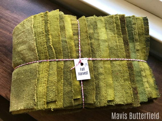 Hand Dyed Wool Fabric, 18 Fall Harvest Fat 1/16 Sixteenth Bundle for Primitive Rug Hooking