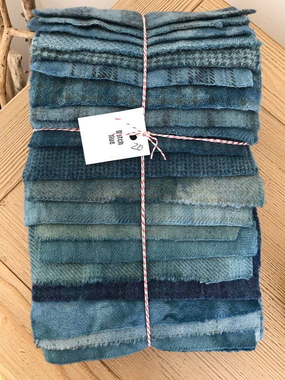 Hand Dyed Wool Fabric, 20 Dutch Blue Fat 1/16 Sixteenth for Primitive Rug Hooking
