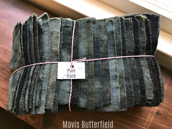 Hand Dyed Wool Fabric, 26 Worn Black Fat 1/16 Sixteenth for Primitive Rug Hooking