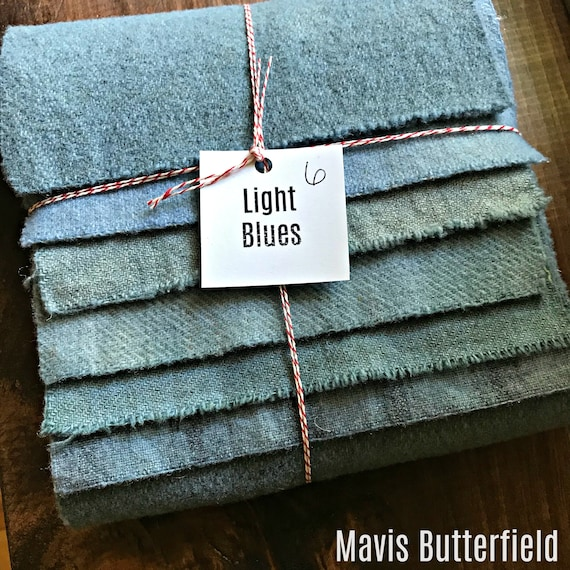 Hand Dyed Wool Fabric, 6 Light Blues Fat 1/16 Sixteenth for Primitive Rug Hooking