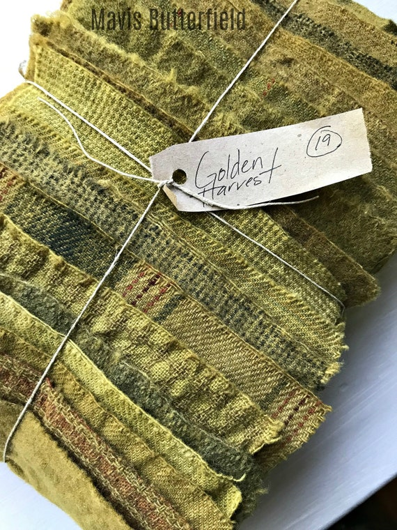 Hand Dyed Wool Fabric, 19 Golden Harvest Fat 1/16 Sixteenth for Primitive Rug Hooking