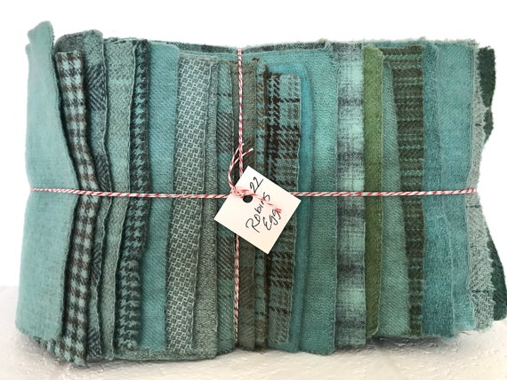 Hand Dyed Wool Fabric, 22 Robin's Egg Blue Fat 1/16 Sixteenth for Primitive Rug Hooking