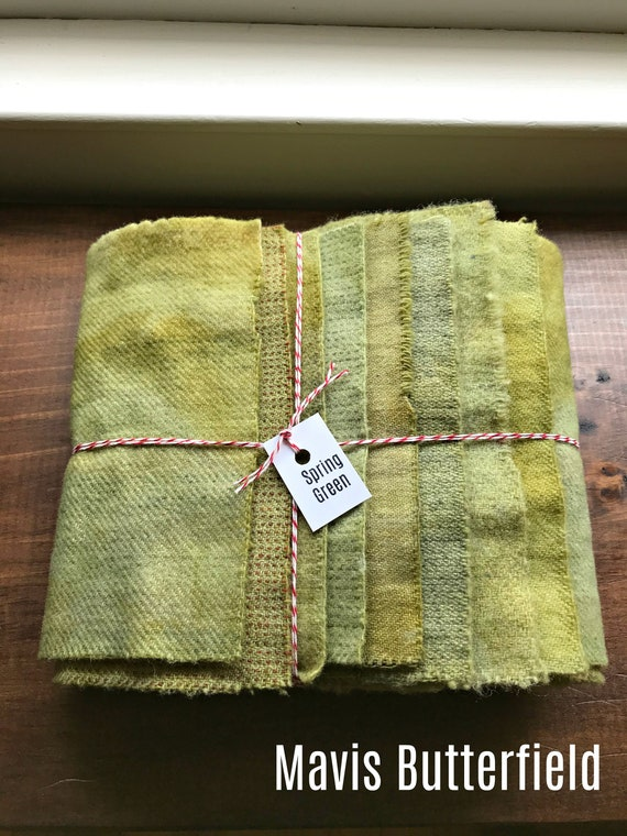 Hand Dyed Wool Fabric, 8 Spring Green Fat 1/16 Sixteenth for Primitive Rug Hooking