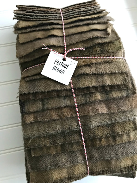 Hand Dyed Wool Fabric, 27 Perfect {Dark} Brown 1/16ths Fat Sixteenths for Primitive Rug Hooking