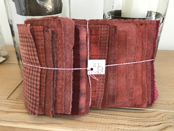 Hand Dyed Wool Fabric, 20 Antique Red Fat Sixteenths {1/16} for Primitive Rug Hooking
