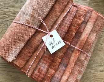 Hand Dyed Wool Fabric, 8 Old Bricks Red Fat 1/16 Sixteenth for Primitive Rug Hooking