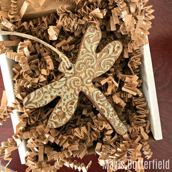Rustic Dragonfly Redware Pottery Ornament