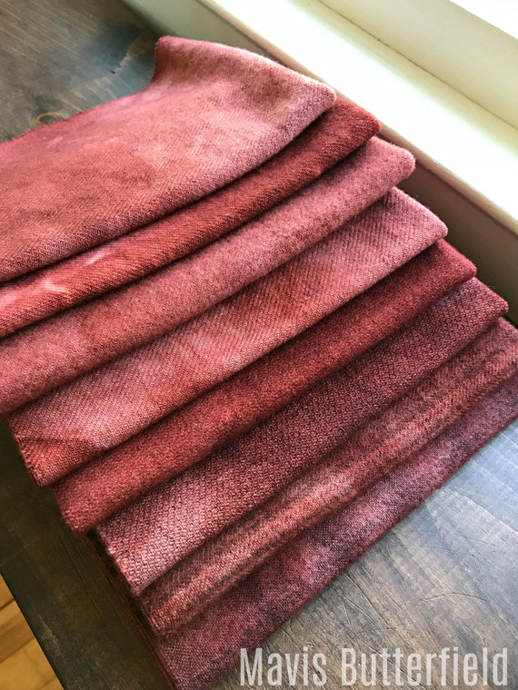 Hand Dyed Wool Fabric, 8 Strawberry Jam Red Fat Eights {1/8} for Primitive Rug Hooking