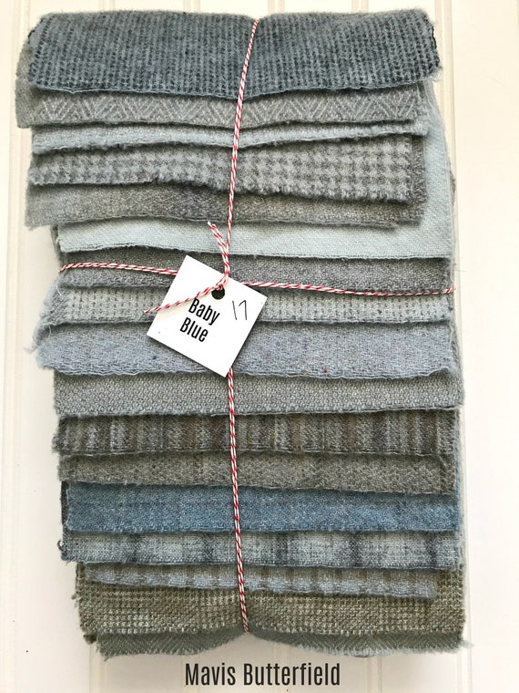 Hand Dyed Wool Fabric, 17 Baby Blue Fat 1/16 Sixteenth for Primitive Rug Hooking