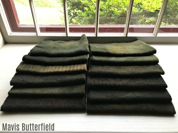 Hand Dyed Wool Fabric, 12 Brown Black Fat 1/8 Eighth Yards for Primitive Rug Hooking