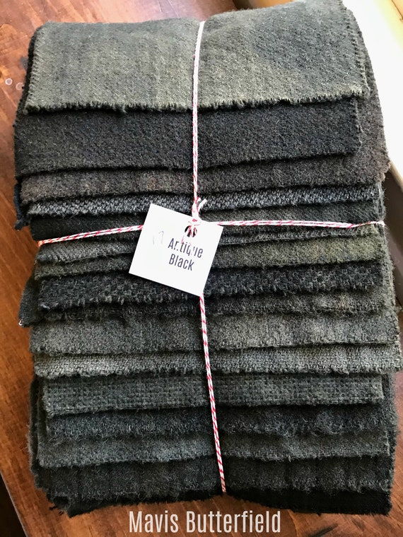 Hand Dyed Wool Fabric, 17 Antique Black Fat 1/16 Sixteenth for Primitive Rug Hooking