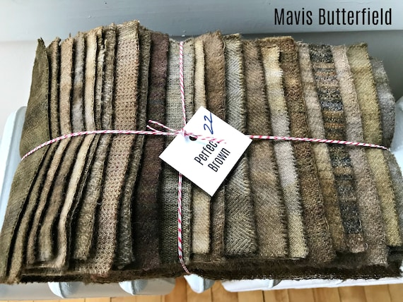 Hand Dyed Wool Fabric, 22 Perfect Brown 1/16ths Fat Sixteenths for Primitive Rug Hooking