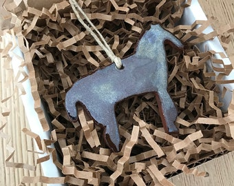 Rustic Chocolate  Brown Horse Redware Pottery Ornament