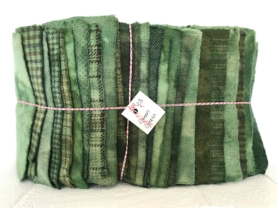 Hand Dyed Wool Fabric, 23 Green Grass Fat 1/16 Sixteenth for Primitive Rug Hooking