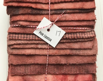 Hand Dyed Wool Fabric, 17 Pink Lipstick Fat 1/16 Sixteenths for Primitive Rug Hooking