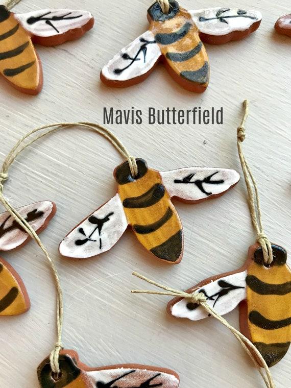 Set of 3 Rustic Bee Redware Pottery Ornaments ~ Primitive Folk Art