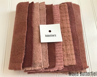 Hand Dyed Wool Fabric, 8 Valentine's Pink and Red Fat Sixteenths {1/16} for Primitive Rug Hooking