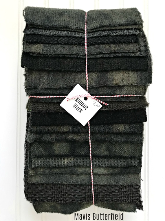 Hand Dyed Wool Fabric, 20 Antique Black Fat 1/16 Sixteenth for Primitive Rug Hooking