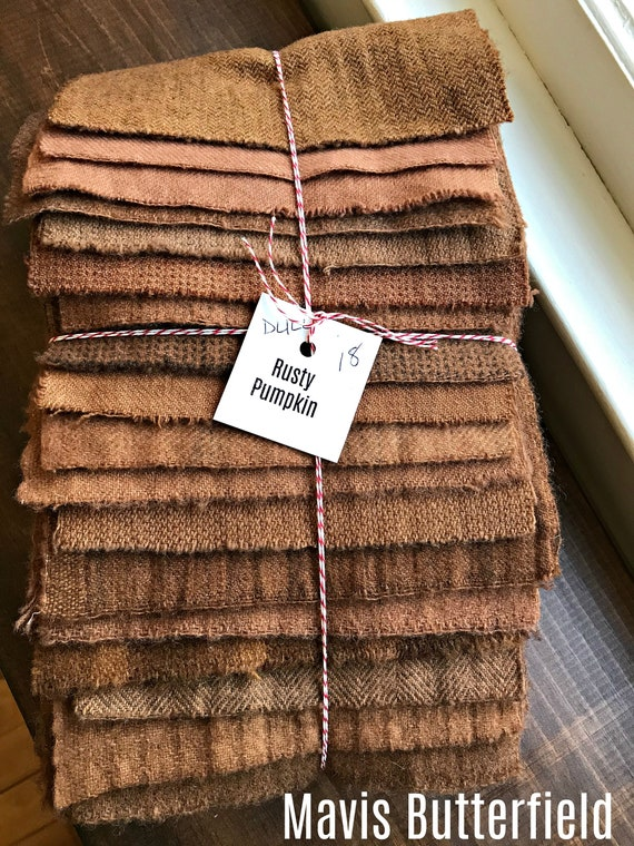 Hand Dyed Wool Fabric, 18 Rusty {DULL} Pumpkin Fat 1/16 Sixteenth for Primitive Rug Hooking