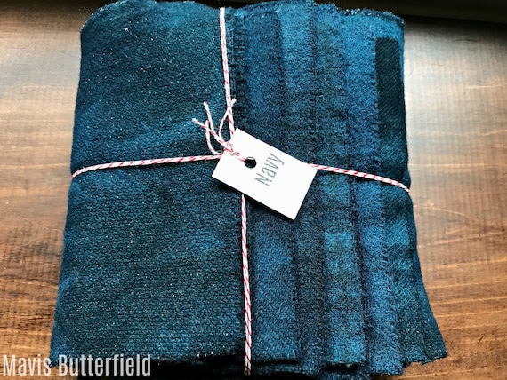 Hand Dyed Wool Fabric, 8 Navy Fat 1/16 Sixteenth for Primitive Rug Hooking