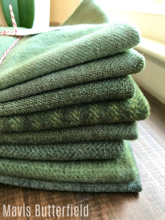 Hand Dyed Wool Fabric, 8 Primitive Green Fat 1/8 Eighth for Primitive Rug Hooking