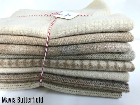 Hand Dyed Wool Fabric, 8 Creams and Tans Fat 1/8 Eighth for Primitive Rug Hooking