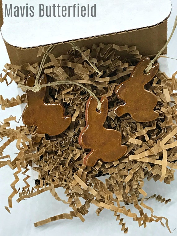 Set of 3 Rustic Brown Bunny Rabbit Redware Pottery Ornaments ~ Primitive Folk Art