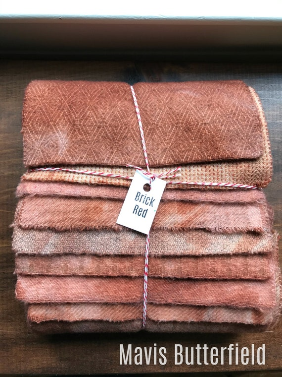 Hand Dyed Wool Fabric, 8 Brick Red Fat 1/16 Sixteenth for Primitive Rug Hooking