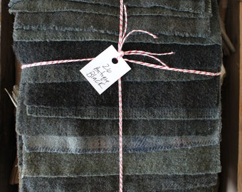 Hand Dyed Wool Fabric, 26 Antique Black Fat 1/16 Sixteenth for Primitive Rug Hooking