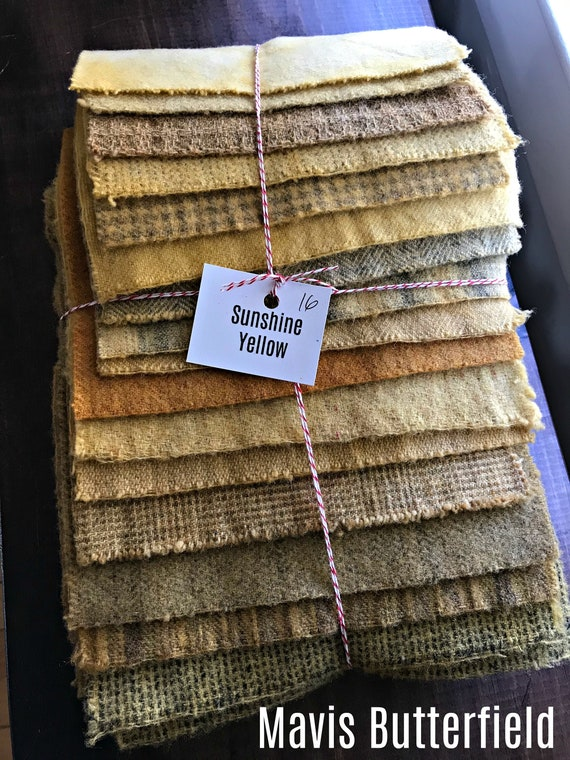 Hand Dyed Wool Fabric, 16 Sunshine Yellow Fat 1/16 Sixteenth Yards for Primitive Rug Hooking
