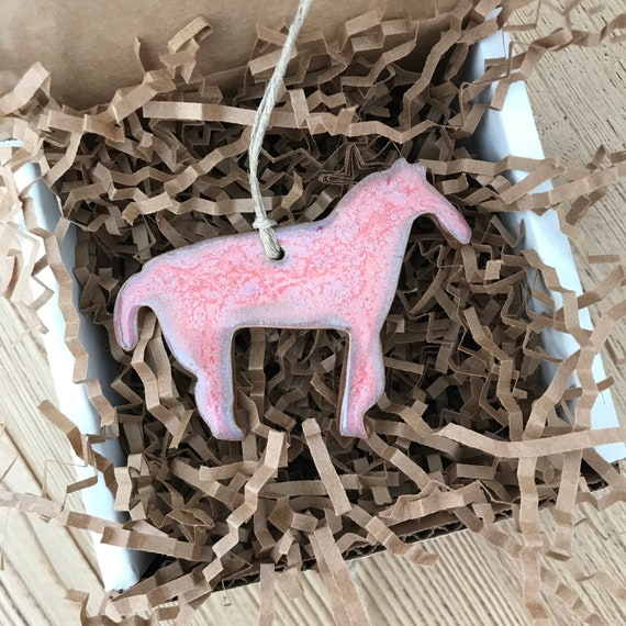 Rustic Pink Horse Redware Pottery Ornament