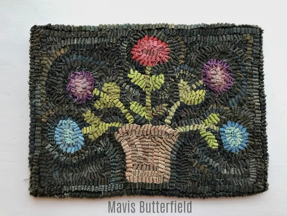 Primitive Folk Art ~ Basket of Spring Posies ~ Wool Hooked Rug ~ Early Style ~