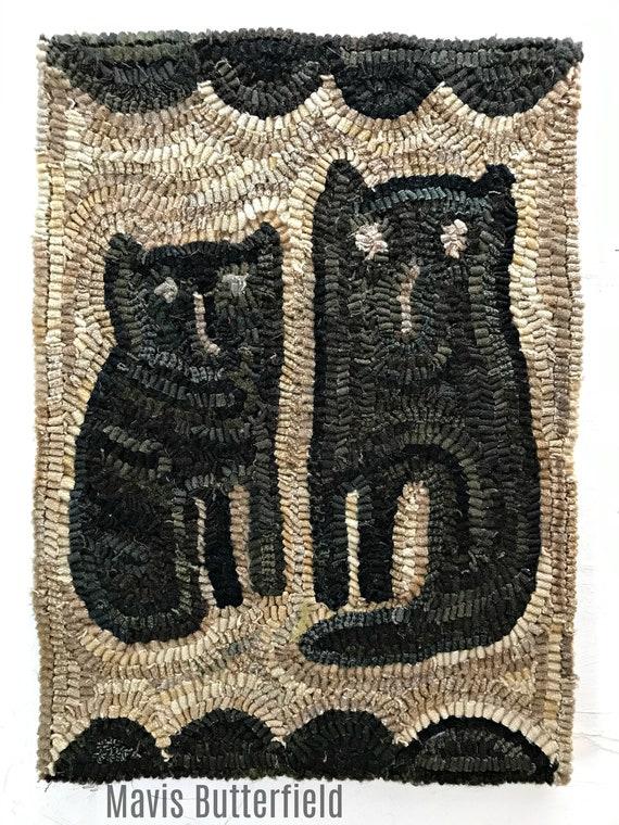Primitive Cat Folk Art Wool Twin Kitties Hooked Rug ~ Early Style ~